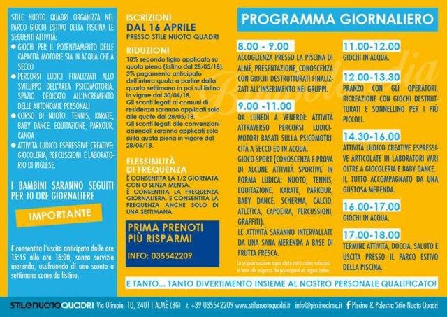 Programma Bimbolandia  Cre Almè Bergamo Bambini materna Piscina Sport