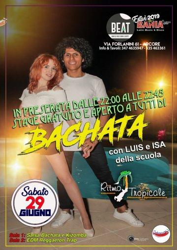 Sabato 29 Giugno 2019 - Dalle ore 22:00 alle 22:45 Stage Gratuito di Salsa Portoricana aperto a tutti con il maestro Luis Tapia e Isa