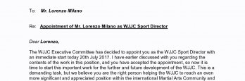 Appointment Shihan Lorenzo Milano as WJJ Confederation Sport Director