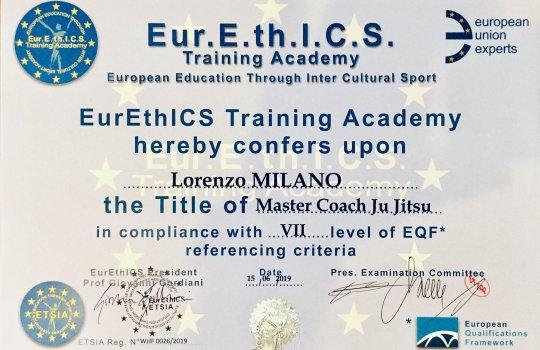 Diploma Eur.E.th.I.C.S. per il maestro Lorenzo Milano
