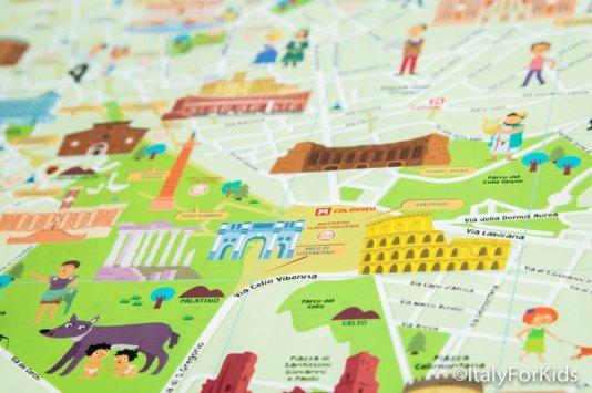 Mappa illustrata di Roma per bambini