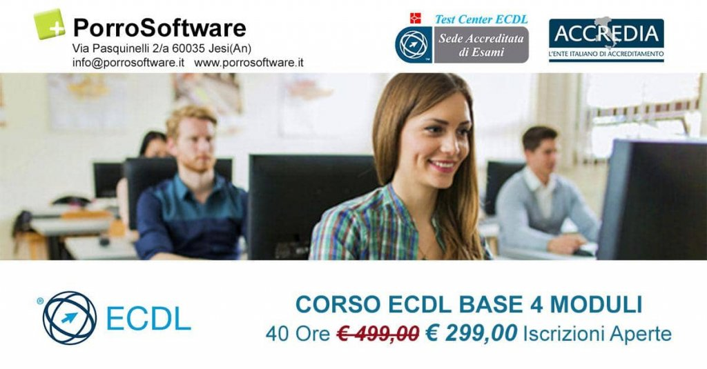 Jesi - Sconto 40% Corso ECDL Base 4 moduli | PorroSoftware | Jesi, via Pasquinelli 2 | Tel. 340 6551992 | Offerta valida fino al 30/09/18