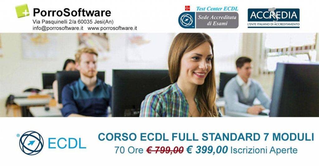 Jesi - Sconto 50% ECDL Full Standard 7 moduli   PorroSoftware   Jesi, via Pasquinelli 2   Tel. 340 6551992   Offerta valida fino al 30/09/18