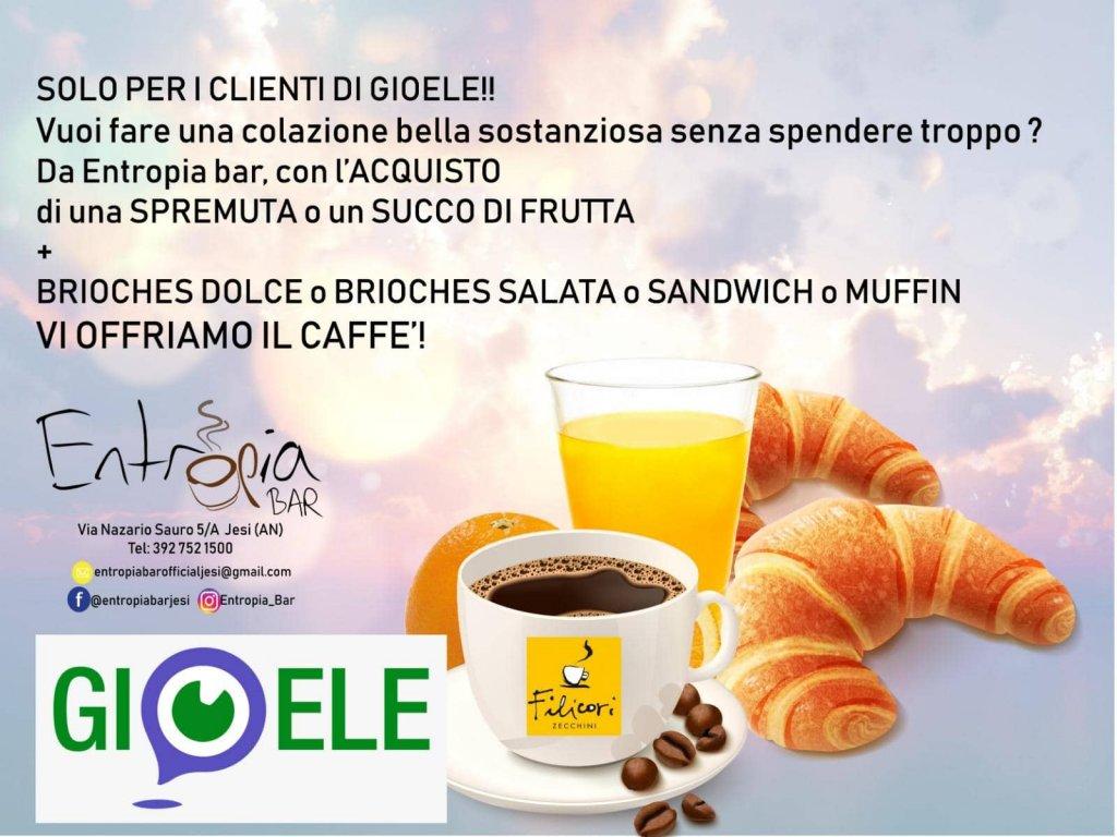 Jesi - Caffè Offerto ai Clienti Gioele | Entropia Bar | Jesi, via N. Sauro 5/a | Tel. 3478810269 | Offerta valida fino al 30/04/19