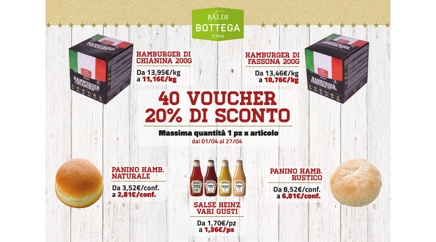 Jesi - Sconto 20% Hamburger, Panini e Salse Heinz | Baldi Bottega | Jesi, Via della Barchetta, 8 | Tel. 073160142 | Offerta valida dall'1/4 al 27/04/19