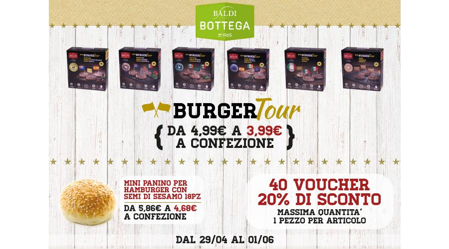 Jesi - Sconto 20% BurgerTour e Panini | Baldi Bottega | Jesi, Via della Barchetta, 8 | Tel. 073160142 | Offerta valida fino all'1/06/19