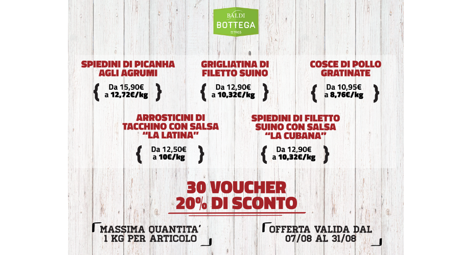Jesi - Sconto 20% su Carni Selezionate | Baldi Bottega | Jesi, Via della Barchetta, 8 | Tel. 073160142 | Offerta valida dal 7 al 31/08/19