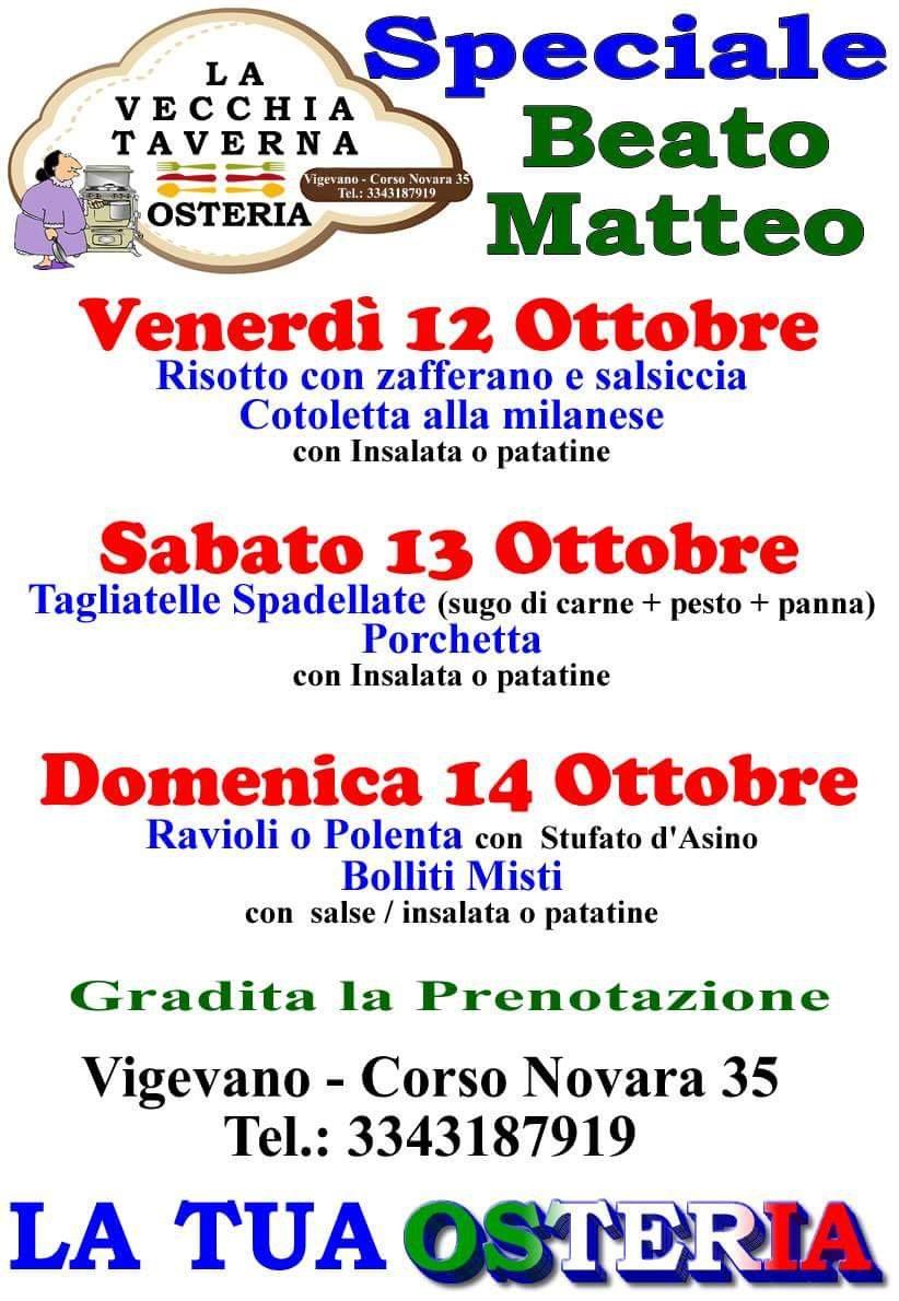 Speciale menù per il Beato Matteo!