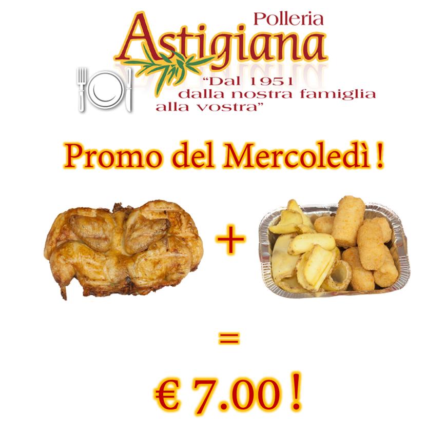 Promo del Mercoledì! 1 galletto + 3 etti di patate e/o crocchette a soli 7,00