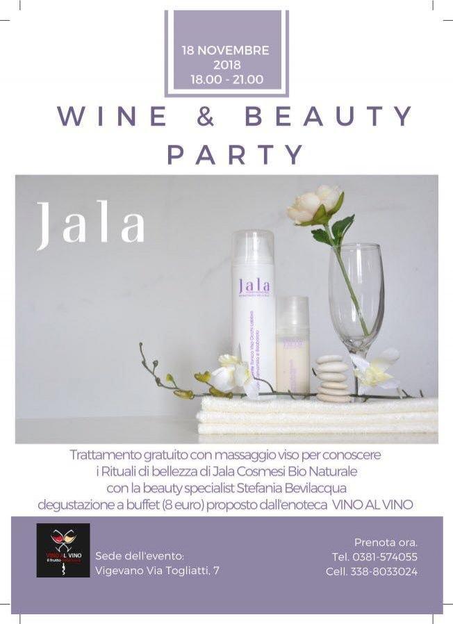 Wine&Beauty Party JALA: rituale di bellezza e degustazione vini. Domenica 18 novembre