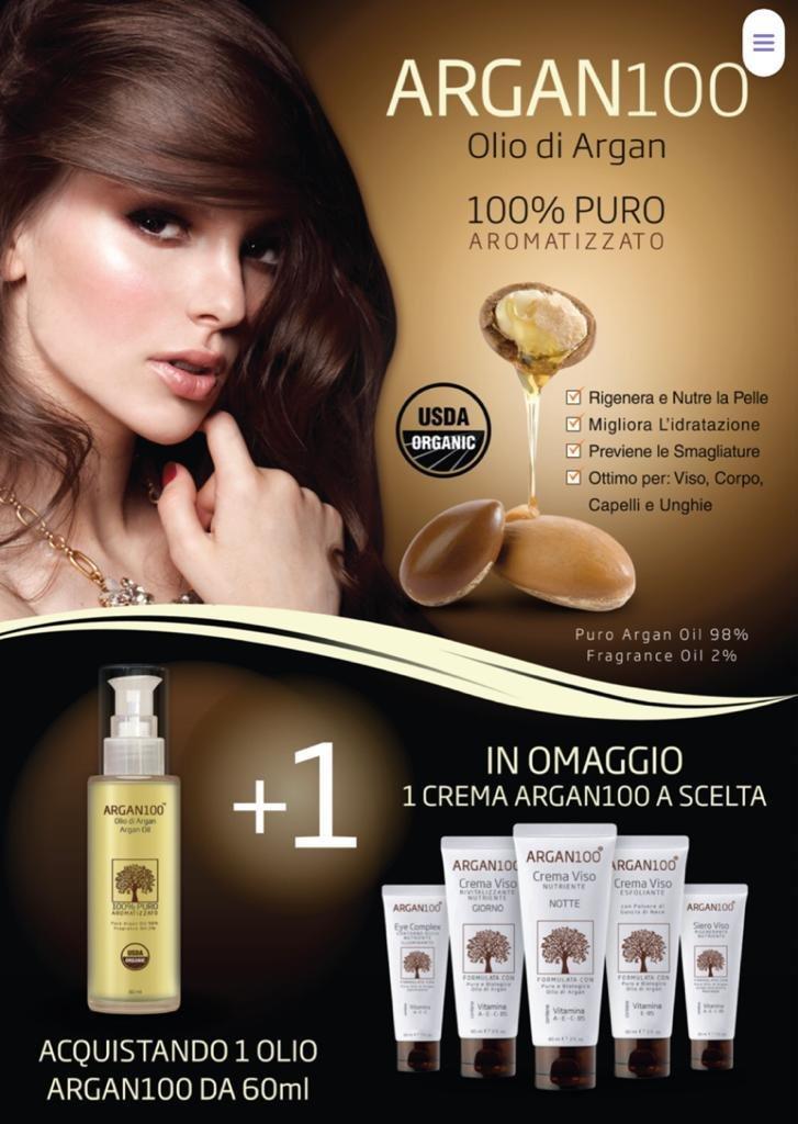 Acquistando 1 olio Argan100 in omaggio 1 crema Argan100 da Farmacia Vidari
