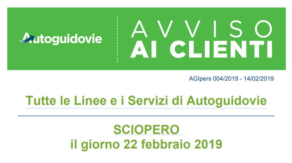 Autoguidovie - SCIOPERO il giorno 22 febbraio 2019