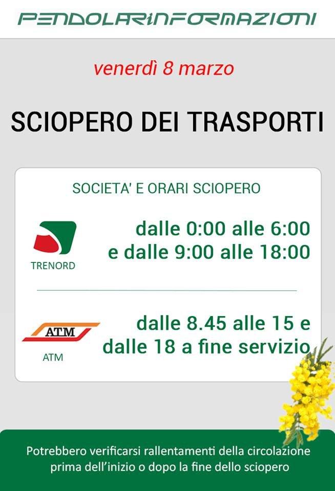Trenord - Venerdì 8 Marzo SCIOPERO GENERALE