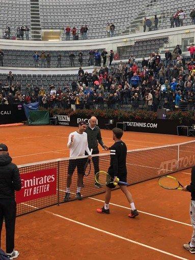 Vigevano24: Tennis, Internazionali Bnl d'Italia: Baldi si allena con Roger Federer