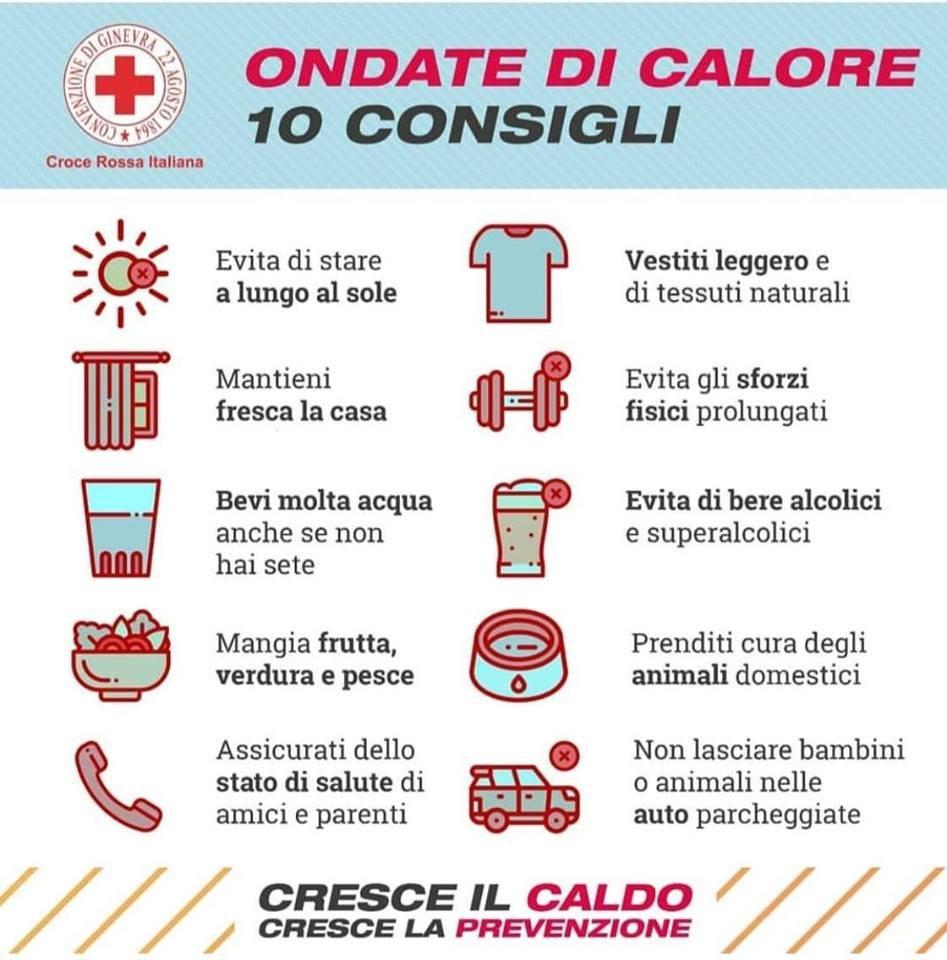 10 Consigli su come sconfiggere il caldo  -Croce Rossa Vigevano