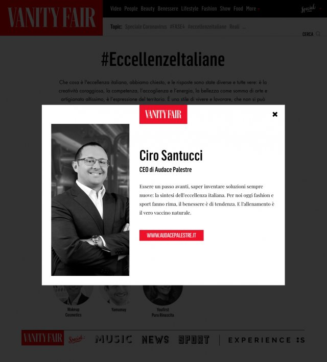 Eccellenze Italiane Vanity Fair Ciro Santucci pagina up