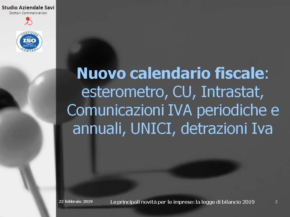 Slides Nuovo calendario fiscale 2019
