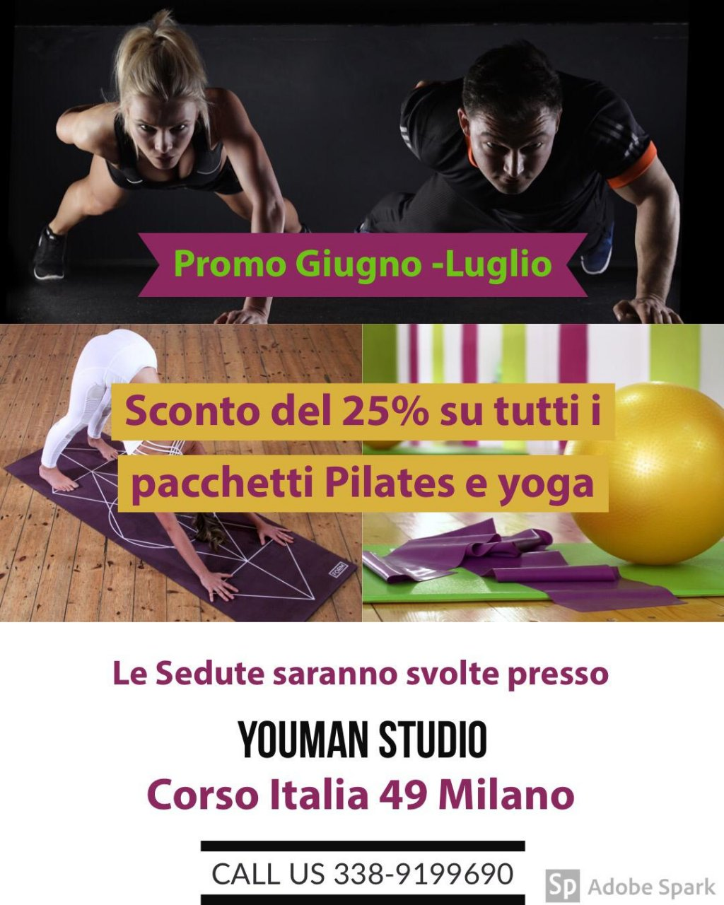 Youman studio 10 lezioni PILATES O YOGA