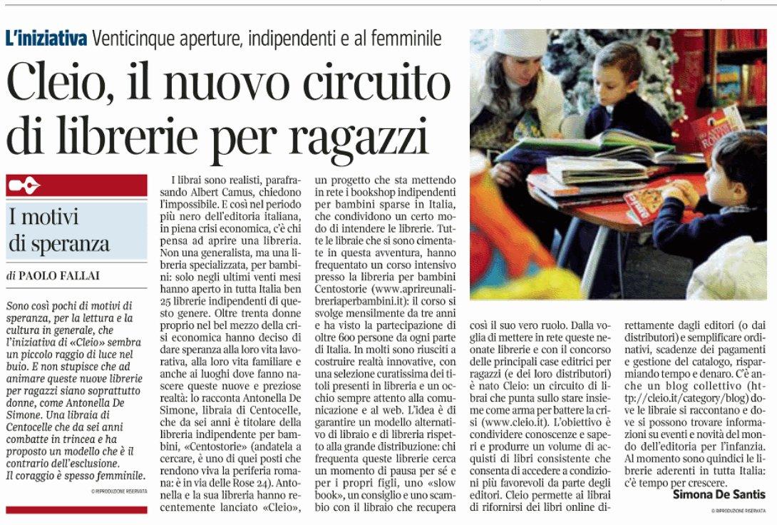 Cleio sul Corriere della Sera